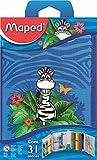 Maped - Trousse Garnie 1 Etage avec 31 Pièces Fournitures Scolaires - Stylo Bille, Gomme, Taille-Crayon, Crayon à Papier Hb, Crayons de Couleur, Feutres, Kit de Traçage - Jungle
