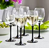 Lot de 6verres à vin blanc 250ml Noir Longue Tige avec coffret cadeau
