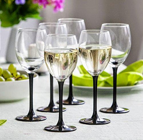 Weiß Wein Gläser 250ml Set von 6Schwarz Lang Stiel in Geschenkverpackung