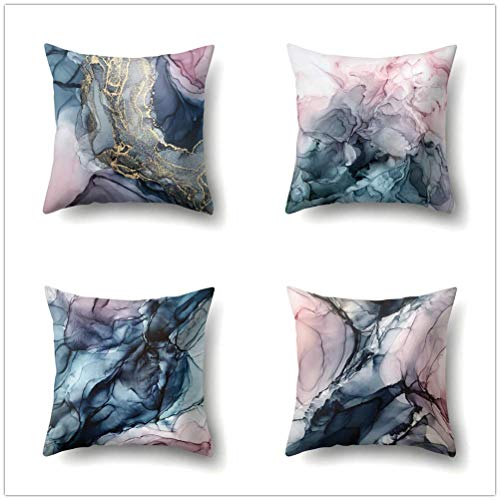 OCCIGANT Set of 4 Watercolor Gradient Marble Throw Pillow Covers Pink Golden Dark Green Ink Rendering Texture Like Smoke Art Pillowcase Cotton Linen Cushion Covers for Sofa Bed 18x18 Inch