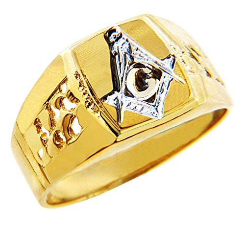Pequeños Tesoros - Anillos Hombres 10 KT Oro 471/1000 Blanco Francmasón con compás 2 Colores Oro
