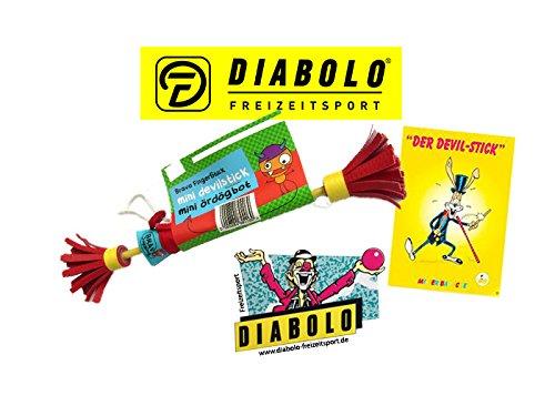 Diabolo Freizeitsport Bravo Mini Fingerstick Set in rot/gelb inkl. Devilstick Jonglage Trickheft + Aufkleber l Anfänger Flowerstick für Fingertricks & Geschicklichkeit