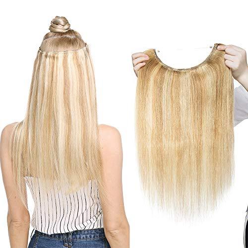 Haarverlängerung Extensions Echthaar mit Unsichtbarer Draht 1 Tresse Haarteil Remy Haare Haarverdichtung Glatt Honigblond/Hellblond #18p613-2 16