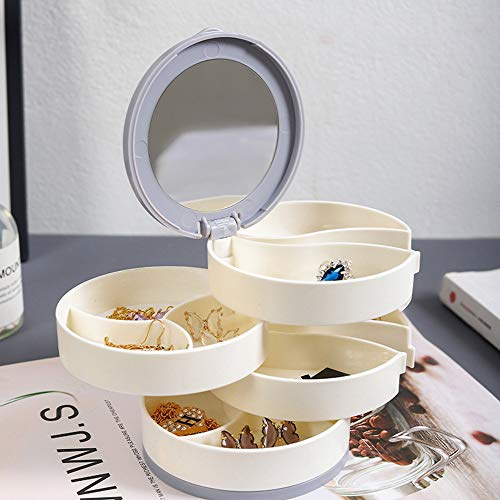 YUYDYU Organizador de joyas giratorio de 360 grados, caja de almacenamiento giratoria de 4 capas con espejo, organizador de joyas para niñas y mujeres, para pendientes, anillos, pulseras, etc