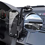 Car Phone Mount, 3-in-1 Universal Cell Phone Holder Dashboard Windshield Air Vent, Flexible Long Arm, Strong Suction Anti-Shake Stabilizer Fit with iPhone 12 Pro Max/11/X/SE, Samsung Galaxy and More