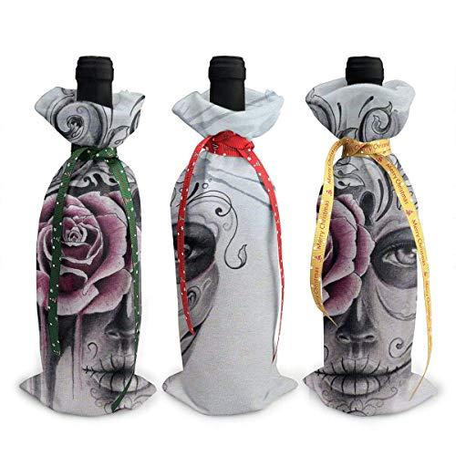 chengnan Cubiertas de botellas de vino de Navidad, 3 unidades, acuarela Sugar Skull Girl para cubrir botellas de vino tinto para Navidad, Año Nuevo, fiesta de degustación de vino