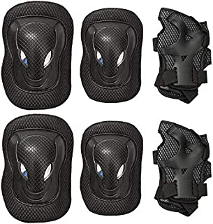 6 in 1 Outdoor Sport Blading Elbow Knee Wrist Protective Gear Pads for Adult and Kids Thicken Skateboard Cycling Roller Sk...