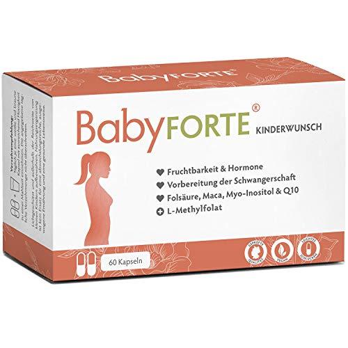 BabyFORTE® Kinderwunsch Vitamine – 60 Kapseln - Vegan + 800 Folsäure, Jod, Vitamin D, Maca, Myoinositol, Q10, Zink - Schwangerschaftsvitamine