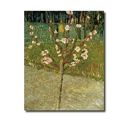 sjkkad amandelboom van Vincent van Gogh poster druk canvas schilderij kalligrafie wooncultuur muurkunst schilderijen voor woonkamer slaapkamer 60 x 80 cm geen lijst