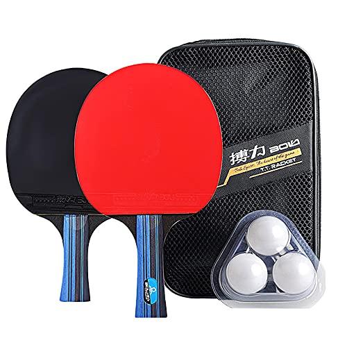 Jabroyee Kit de raqueta de tenis de mesa profesional, incluye 2 raquetas y 3 pelotas de tenis de mesa, excelente efecto de control