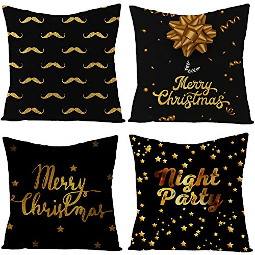 Boyouth Fundas de almohada cuadradas decorativas con cinta dorada y patrón de pentáculo para sofá, dormitorio, silla, asiento de coche, 4 piezas, 45,7 x 45,7 cm