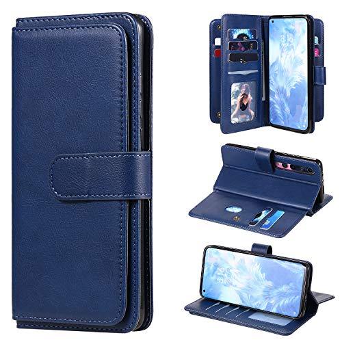 Snow Color Xiaomi Mi 10 Hülle, Premium Leder Tasche Flip Wallet Case [Standfunktion] [Kartenfächern] PU-Leder Schutzhülle Brieftasche Handyhülle für Xiaomi Mi10 / Mi 10 Pro 5G - COKT020459 Blau