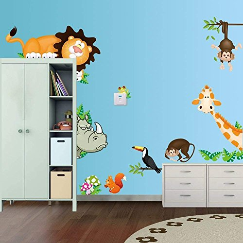 DAY8 Stickers Muraux Enfants Garçon Fille Jungle Animaux Stickers Muraux Chambre Adultes Papiers Peints Salon Créatif Amovible DIY Décorations Chambre Bébé Stickers Autocollant Mural Cuisine Salle de Bains (Multi)