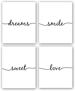 CHDITB Unframed Inspirational Art Prints, Sweet Dream Love Smile Quote Family Painting, Set of 4 (8''x10'') Canvas Romantic Lettering Typography Wall Art Decor for Living Room or Nursery Decor