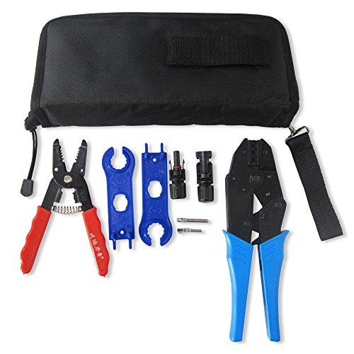 Nuzamas Lot d'outils de câblage pour panneau solaire avec pince à sertir et connecteurs de câbles mâle-femelle