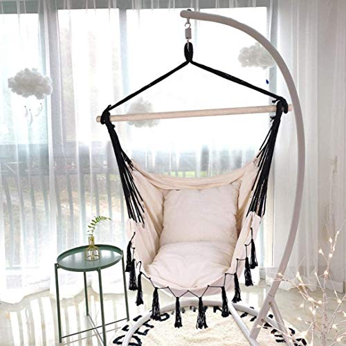 DOYCE Hammock Chair, Hanging Rope Hammock Chair Swing Seat Max 500 Lbs,2 Seat Cushions Included, for Yard, Bedroom, Patio, Porch, Indoor/Outdoor,Shipping from USA (Beige &Black)