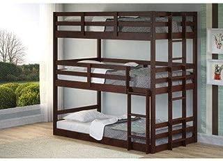 Donco Kids Triple Bunk Bed, Twin/Twin/Twin, Dark Cappuccino