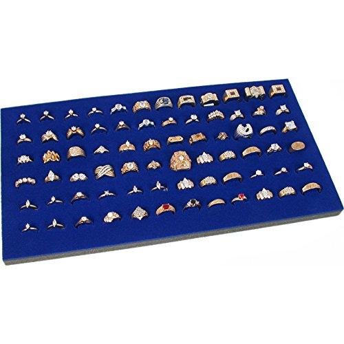 Findingking Présentoir de bague anneau de 72 fente Bijoux de Voyage Bleu Insert neuf