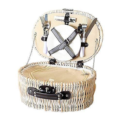 Home Collection Picknickkorb 12tlg. beige Weide für 2 Personen