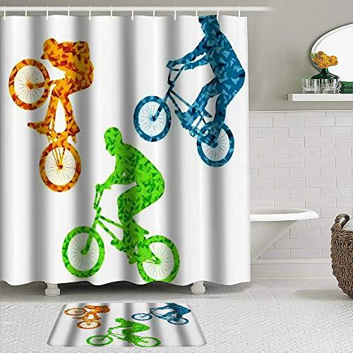 YOLIKA 2-teiliges Duschvorhangset mit Rutschfester Badematte,Extreme Radfahrer Fahrradfahrer Active Teenager Concept,12 Haken,Personalisierte Badezimmerdekoration