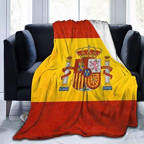 Manta Polar con Flecos | Bandera de España1 PelucheAdecuada para Todas Las Estaciones (200 x 150 cm)