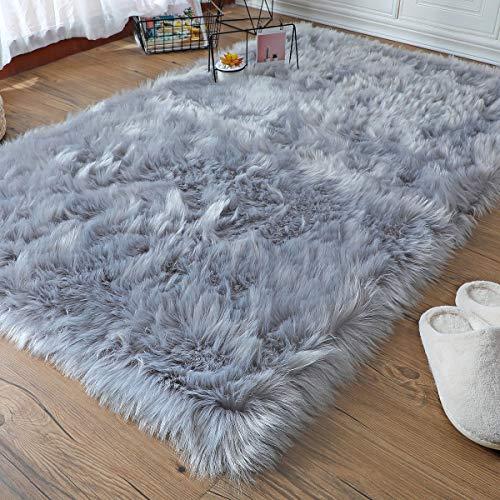 Falso Piel de Carnero Vellón Alfombra, ZCZUOX Shaggy Elegante De Pelo Largo Mullida Excelente Piel Sintética de Calidad Alfombra de Lana (Gris, 80x180cm)