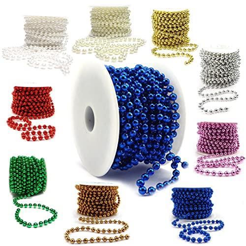 Sepkina Catena di perle decorative, catena di perle, per matrimonio, albero di Natale, ghirlanda di perle, prezzo di base 0,90€/M (blu, 6)
