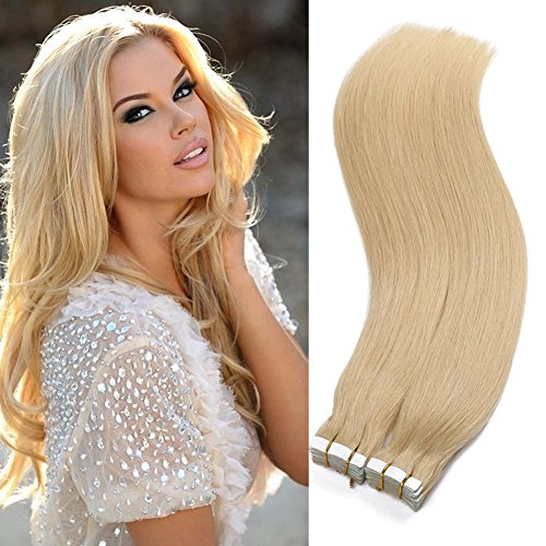 TD Tape In Hair Extensions #613 Blond 100% Remy Human Hair Extensions 40Pcs 100g Set Silk Striaght for Fashion Women 26Inch