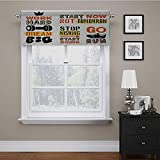 Adorise Window Curtain Valance Sports Affirmation Positive Quotes Motivational Typography Design Sneakers Tailored Valance/Swags Perfectly for The Space Orange Yellow Black 56 x 16 Inch