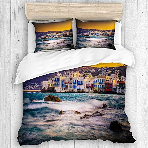 KISSENSU Funda Nórdica Cama,Pequeña Venecia Sunrise Mykonos Grecia,Juego de Fundas de edredón y de Almohada de Microfibra, 200 x 200 cm + 2 Fundas 50 x 80 cm