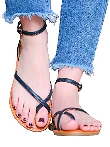 Sandalo bajo negro Minimal con anillo para dedo gordo Negro Size: 39 EU