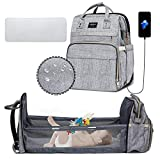 Xinsilu 5 in 1 Diaper Bag Backpack with Folding Crib Portable Sleeping Mummy Bag Include Insulated Pocket Multi-Functional Baby Bassinet Diaper Backpack with Diapers Changing Station