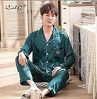 SDCVRE Pajama set Pajama suit Satin Silk Pajamas Sets Couple Sleepwear Family Pijama Lover Night Suit Men & Women Casual Home Clothing,D Green Men,M