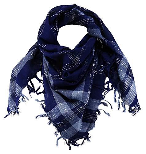 TigerTie - Fular - Cuadros - para mujer Azul Marine Blau Silber Talla