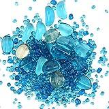 Piedra de grava irregular decorativa para acuario de 2 libras, varios colores de lago azul y blanco turquesa piedra guijarros sustrato..