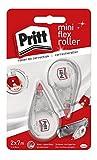Pritt Corrector Mini Roller, corrector roller con punta flexible, cinta correctora con un cómodo tamaño, corrector blanco con tapa de protección, 2 cintas de 4,2mm x 7m
