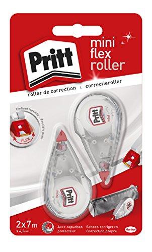 Pritt Corrector Mini Roller, corrector roller con punta flexible, cinta correctora con un cómodo tamaño, corrector blanco con tapa de protección, 2 cintas de 4,2mm x 7m 🔥