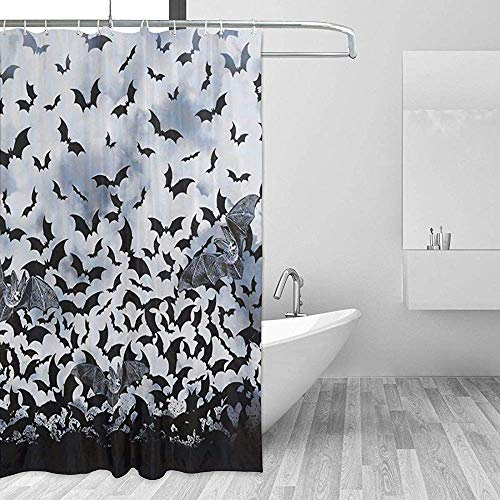 Badewannenvorhang Duschvorhänge Goth Fledermäuse Bad Gardinen Badezimmer Set Mit Haken Startseite Bad Wasserdicht Badewanne Fenster Zubehör