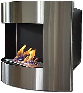 Chimenea de pared y de esquina DIANA Deluxe negro/acero inoxidable gel y etanol chimenea + quemador ajustable