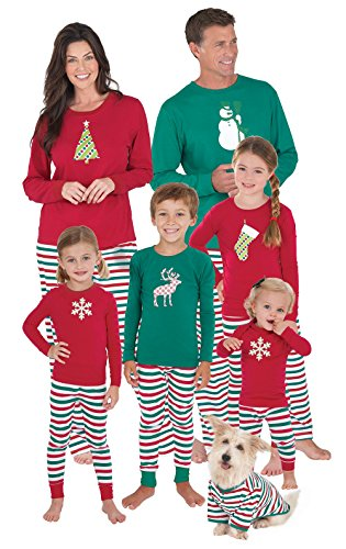 PajamaGram Family Christmas Pajamas Cotton - Red/Green, Baby, 12M
