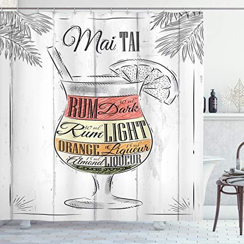 ABAKUHAUS Alkohol Duschvorhang, Exotischer Mai Tai Cocktail, mit 12 Ringe Set Wasserdicht Stielvoll Modern Farbfest & Schimmel Resistent, 175x200 cm, Mehrfarbig