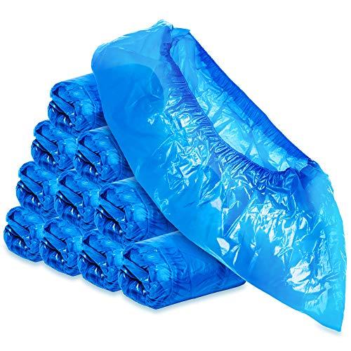 com-four® 100x hochwertige Einweg Überziehschuhe 5g je Überzieher - Plastik Schuhüberzieher - Einmal-Schuh wasserdicht - Überschuhe in Einheitsgröße