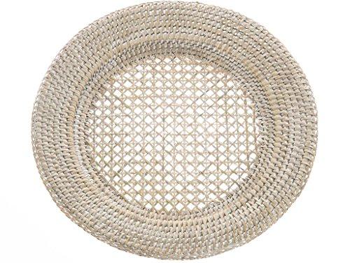 Kouboo Platzteller aus Rattan, rund tropisch 12.5 inches x 12.5 inches Weißes Waschen.