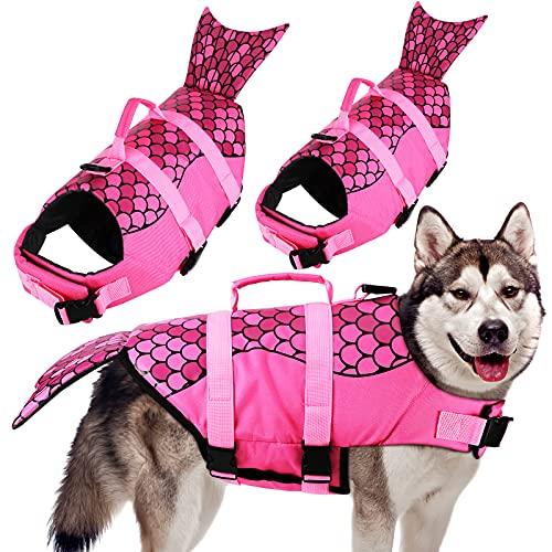 Large Mermaid Dog Life Jacket Adjustable Dog Life Jacket Ripstop Dog Life Vest for Swimming Beach Boating