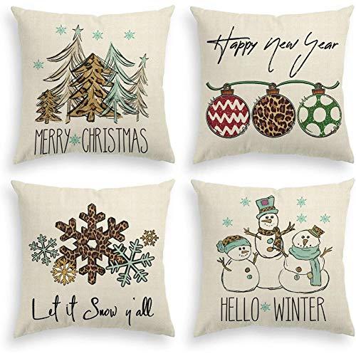 Mogzank Adornos para áRboles de Navidad MuuEco de Nieve Copo de Nieve Copo de Nieve Funda de Almohada, DecoracióN de la Caja del CojíN de Vacaciones de Invierno de Navidad