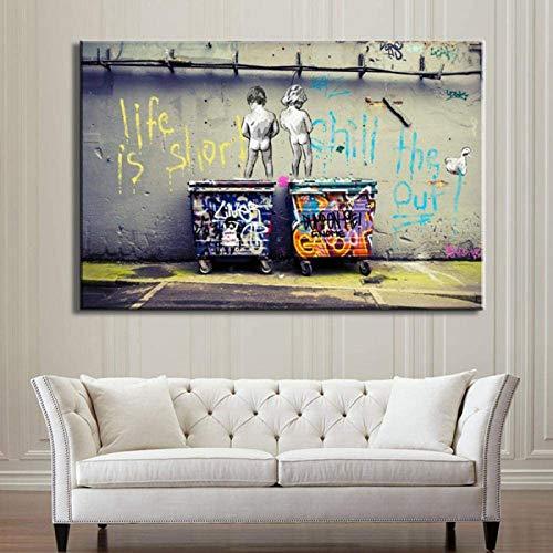 Cuadro decorativo de pared con graffiti de Banksy Graffiti, pintura, Einstein Art Prints Street Urben, pinturas sobre lienzo, arte mural para sala de estar, sin marco (60 x 90 cm)