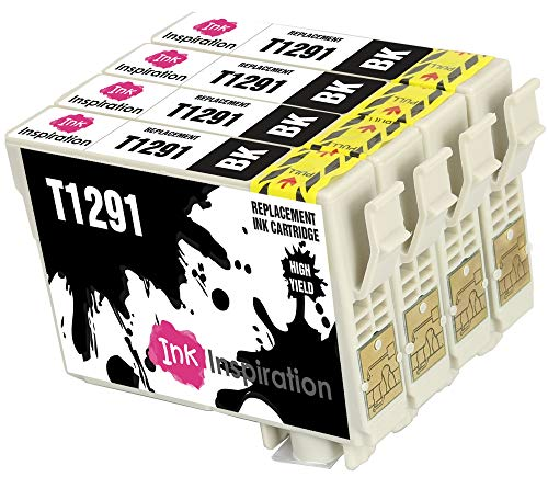 INK INSPIRATION® Ersatz für Epson T1291 Schwarz Druckerpatronen 4er-Pack, kompatibel mit Epson Stylus SX235W SX425W SX435W SX445W SX525WD BX305FW BX635FWD Workforce WF-3520DWF WF-3540 WF-7515