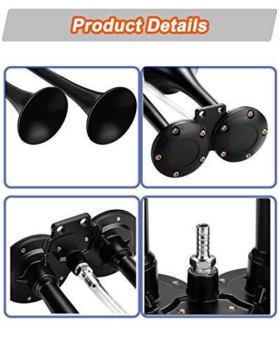 Carfka Air Horn for Truck Boats Car, 150DB Super Loud Train Horns Kit with 120 PSI Air Compressor (black, Dual)
