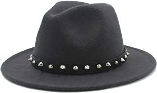 SHENTIANWEI Fashion Men Women Winter Fedora Hat with Punk Rivet Panama Jazz Hat Wide Brim Jazz Hat Size 56-58CM