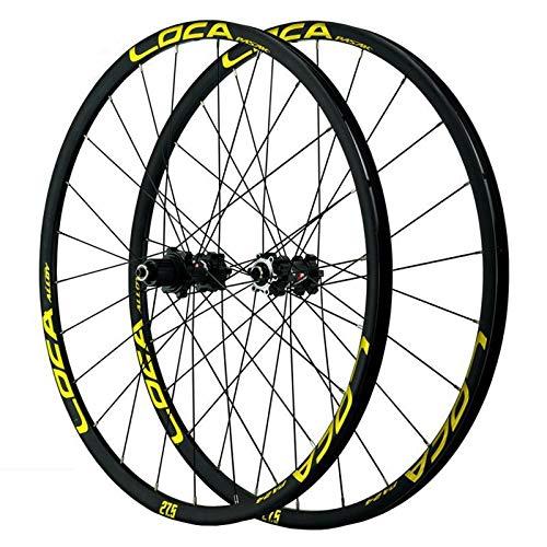 ZNND 26/27.5/29/700C Juego Ruedas De Bicicleta, Rueda De Bicicleta Llanta Aleación Doble Capa Liberación Rápida Freno Disco Pequeña Spline 7-12 Velocidades (Color : Black Hub Gold Logo)
